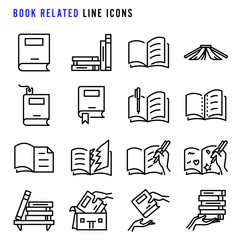 Book related line icons