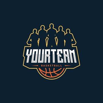 basketball badge logo design vector illustration