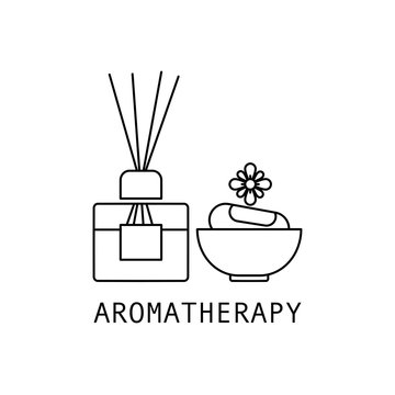 Concept of Aromatherapy. Outline thin line flat illustration. Isolated on white background.