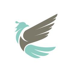Modern phoenix bird vector logo template. Falcon, eagle, dove, bird symbol