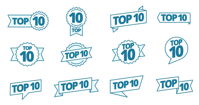 Top 10 heading title icon set. Best ten list. Word on ribbon. Winner tape award text title. Contour blue line.