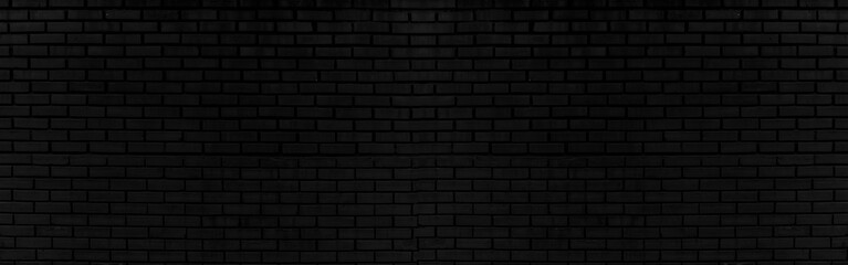 Spoed Fotobehang Baksteen muur Abstract black brick wall texture for background or wallpaper design. panorama picture.