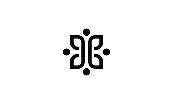 Letter H with leaf  logo design inspirations