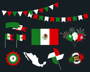 National holiday. Independence Day of Mexico, set of vector design elements, Made in Mexico. Map, flags, ribbons, turntables, sockets. Vector symbolism, set for your infographics. 16 of September