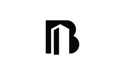 letter B with building logo design inspirations