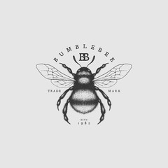 Bumblebee vintage label