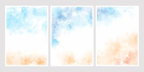 sea blue sky and sand beach watercolor background for wedding invitation card template collection 5x7 Wall mural