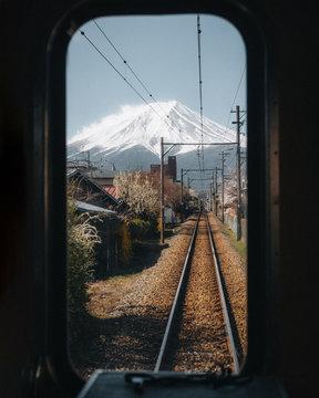 Mount Fuji Japan View Framed From Inside Train