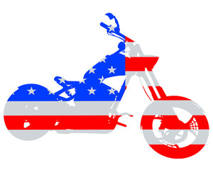 Fototapete - American retro motorcycle one white background