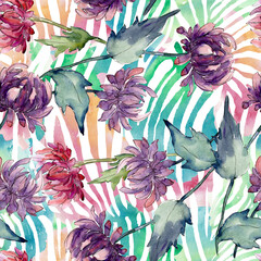 Wall Murals Botanical Aster floral botanical flowers. Watercolor background illustration set. Seamless background pattern.