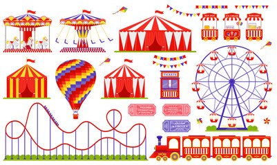 Amusement park, circus, carnival fair theme. Vector. Set with Ferris wheel, tent, carousel, roller coaster, air balloon, train. Icons isolated on white background. Daytime attraction. Illustration