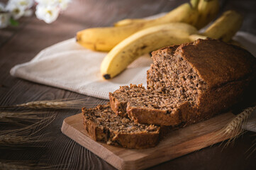 In de dag Brood Fresh banana bread on rustic background