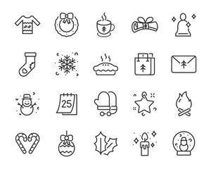 set of Christmas icons, winter, 25 December, Christmas event