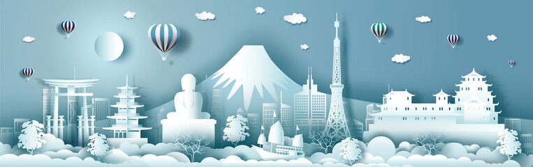 Wall Mural - Travel japan with ancient and modern building with asean culture.