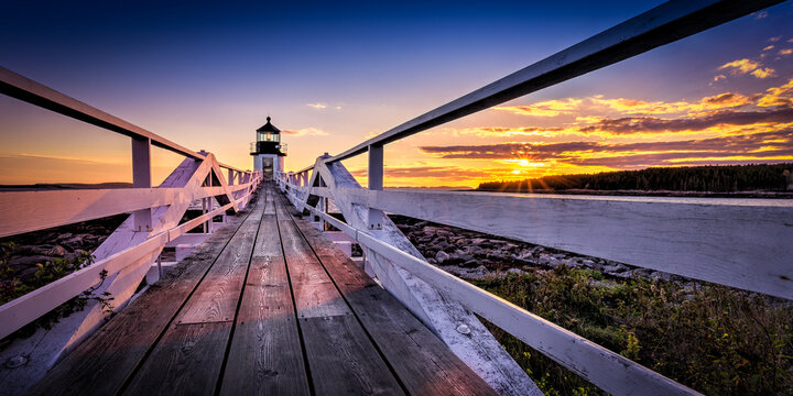 The Marshall Point Light at sunset