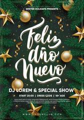 WInter holidays party flyer Feliz ano nuevo hand-drawn lettering. Eps10 vector.