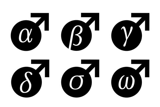 Male and man categorization - alpha, beta, gamma, delta, sigma, omega. Dominant and superior man vs submissive and inferior. Vector illustration of gender and sex symbol with greek alphabet.
