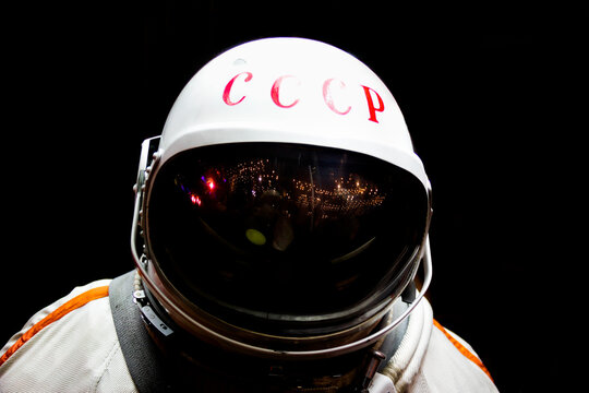 oviet astronaut in shadow, isolated. Cosmonaut's space suit, USSR,Gagarin