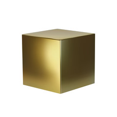 Golden cube isolated on white background. Design element of 3d box gold color. Vector illustration
