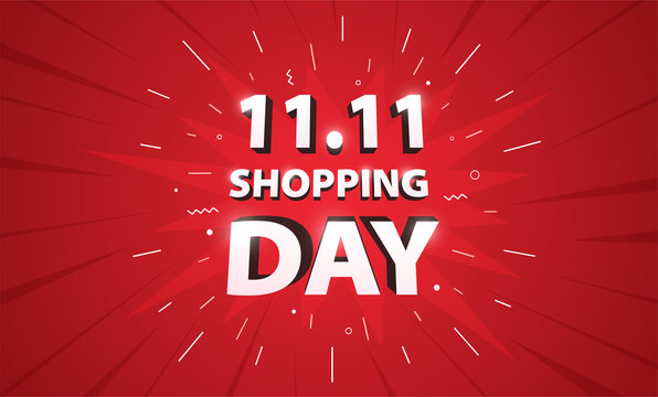 11.11 advertising sale banner template. Global shopping world sales day poster on red background.