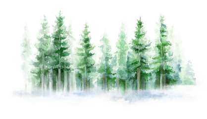 Green landscape of foggy forest, winter hill. Wild nature, frozen, misty, taiga. Winter watercolor background