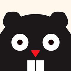 Cheerful beaver, funny animal picture, illustration for children, vector art
