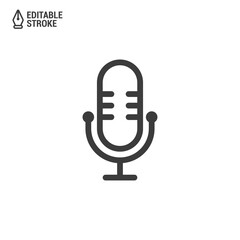 Podcast icon or logo design. Microphone icon with editable strokes. Vector