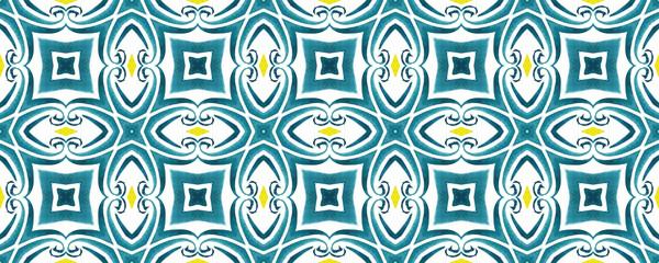 Antique portuguese tiles. Blue and yellow Azulejos ceramic. Spanish pottery..Sicily italian majolica. Vintage ethnic background . Mediterranean watercolor seamless wallpaper. Moroccan ornaments . Fototapete