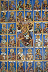 Religious frescoes on the treatises from the Bible, painted on the church wall in Rila Monastery, Bulgaria