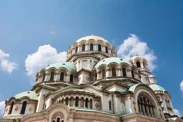 Detail of the domes of Saint Alexander Cathedral in Sofia (Bulgaria)