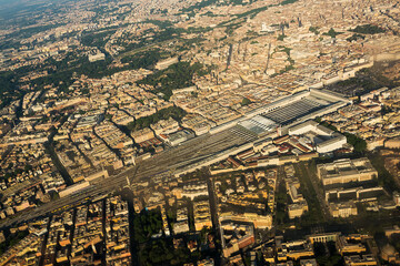 Aerial view of Termini station in the center of Rome