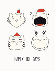 Hand drawn card, banner with cute cats faces in Santa Claus hats, text Happy holidays. Vector illustration. Line drawing. Isolated objects on white. Design concept for Christmas print, invite.