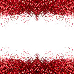 Red glitter square photo with white copy space for text. Abstract shiny brocade. Christmas pretty background for banner.