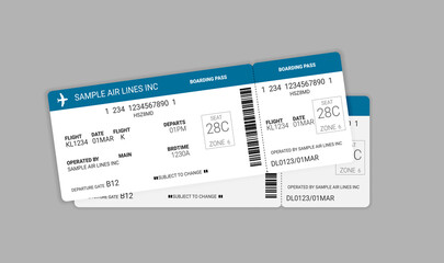 Modern and realistic airline ticket design. Vector stock illustration.