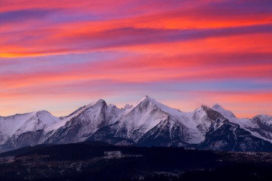 Tatra Mountains in winter wiev from Zakopane Poland in sunrise
