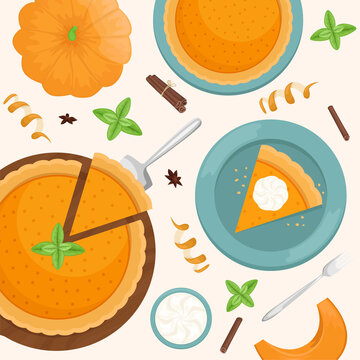 Flat lay with A piece of Christmas pumpkin pie on a wooden Board. Flat lay