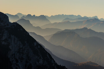 An autumn view over the alps of Friuli Venezia-Giulia