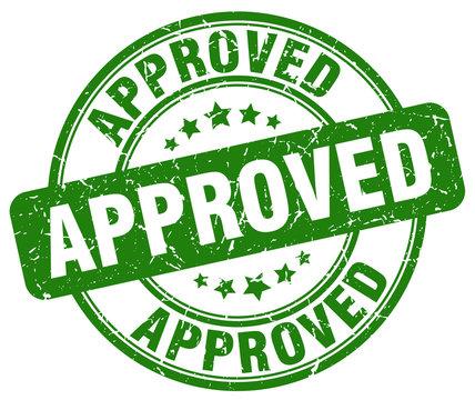 approved stamp. green round grunge vintage approved sign