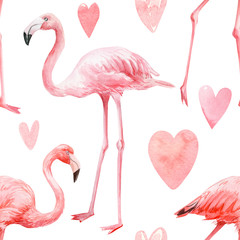 Tuinposter Flamingo seamless pattern, watercolor drawings, painting, pink flamingos, crown, feathers, hearts, festive background