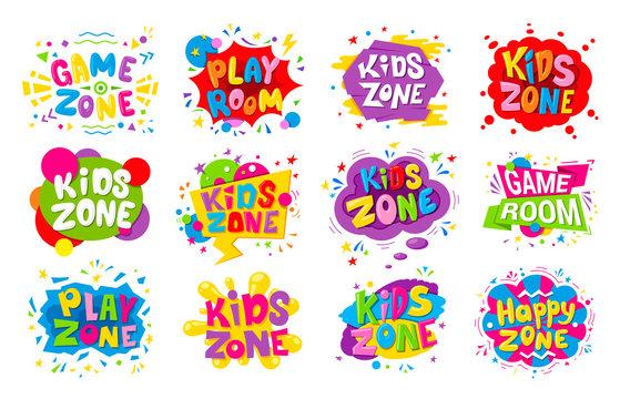 Kids zone emblem colorful cartoon illustrations set