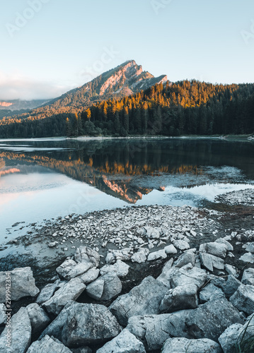 Wall mural Incredible image of the azure pond Obersee. Swiss alps, Europe.