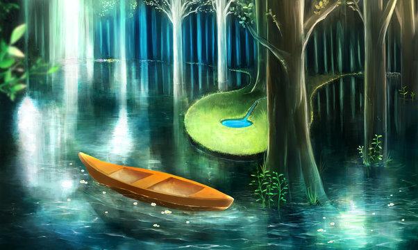 森の中の透き通る湖