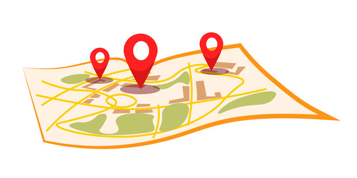City map with pins flat vector illustration