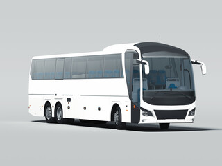 Modern white realistic bus isolated on gray background. 3d rendering. Front view.