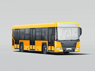 Modern yellow realistic bus isolated on gray background. 3d rendering. Front view.