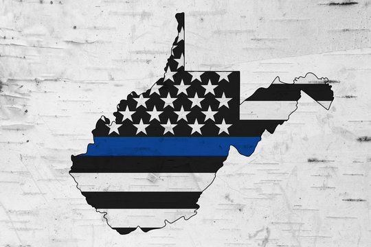American thin blue line flag on map of West Virginia