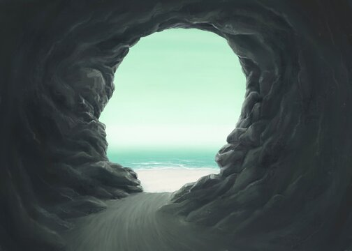 Surreal spiritual and freedom concept, Human head cave  with the sea, fantasy painting