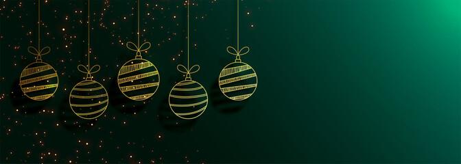green merry christmas banner with creative golden balls Fototapete