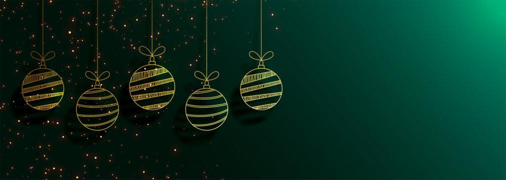 green merry christmas banner with creative golden balls