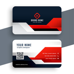 modern red business card template in geometric style